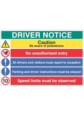 Driver notice Be aware of pedestrian - 10mph…