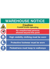 Warehouse Safety Caution forklift trucks - hivis - boots must be worn …