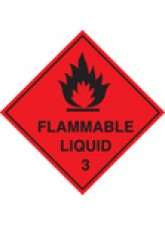 Roll of 100 Flammable Liquid 3 Labels - 100 x 100mm