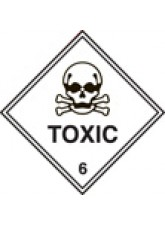 Roll of 100 Toxic 6 Labels - 100 x 100mm