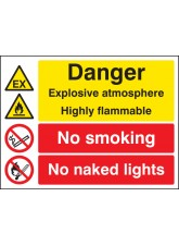 Explosive Atmosphere Highly Flammable No Smoking / Naked Lights