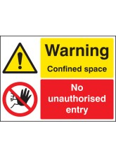 Warning Confined Space No Unauthorised Entry